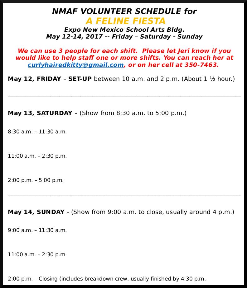 Image of Volunteer Schedule
